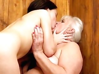 Girly-girl Rump And Cunny Slurping From Hairy Granny