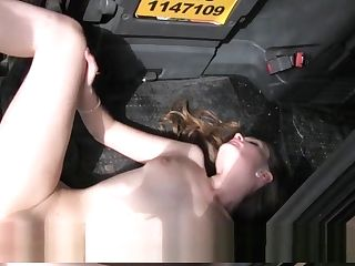 Lesbos Sharing Big Dick In Faux Cab