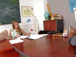 Long Legged Educator Cayenne Klein Gives Footjob To A Student...